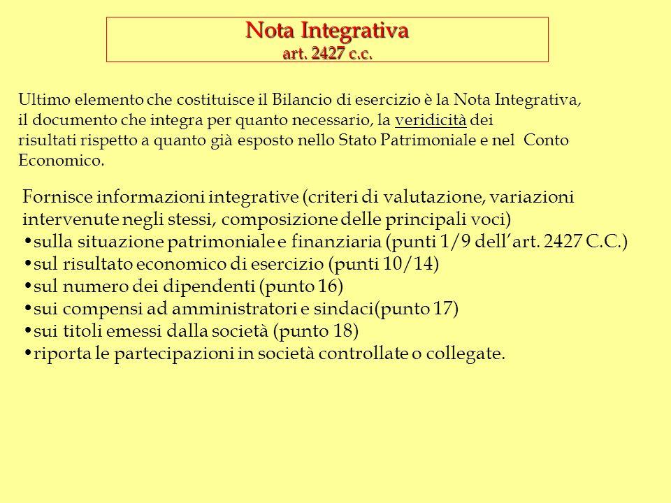 Nota Integrativa art. 2427 c.c.