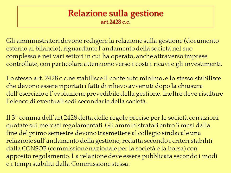 Relazione sulla gestione art.2428 c.c.