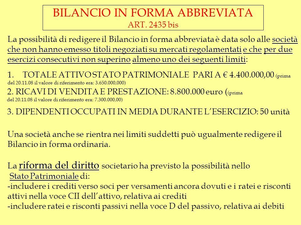 BILANCIO IN FORMA ABBREVIATA ART. 2435 bis