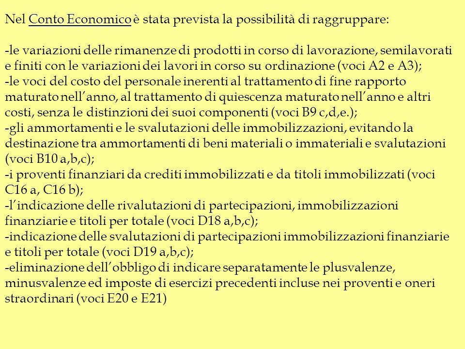 Nel Conto Economico è stata prevista la possibilità di raggruppare: