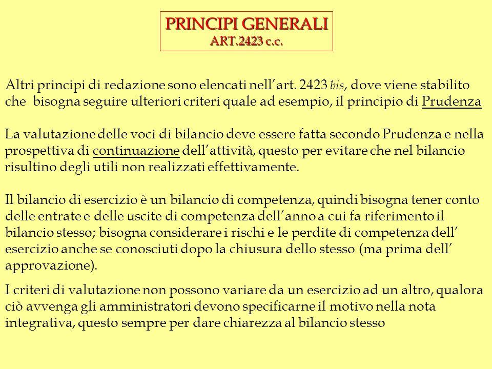 PRINCIPI GENERALI ART.2423 c.c.