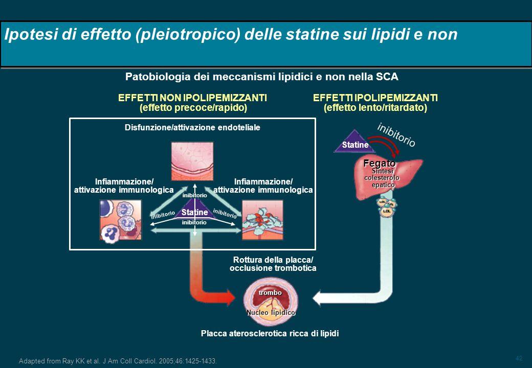 Ipotesi di effetto (pleiotropico) delle statine sui lipidi e non