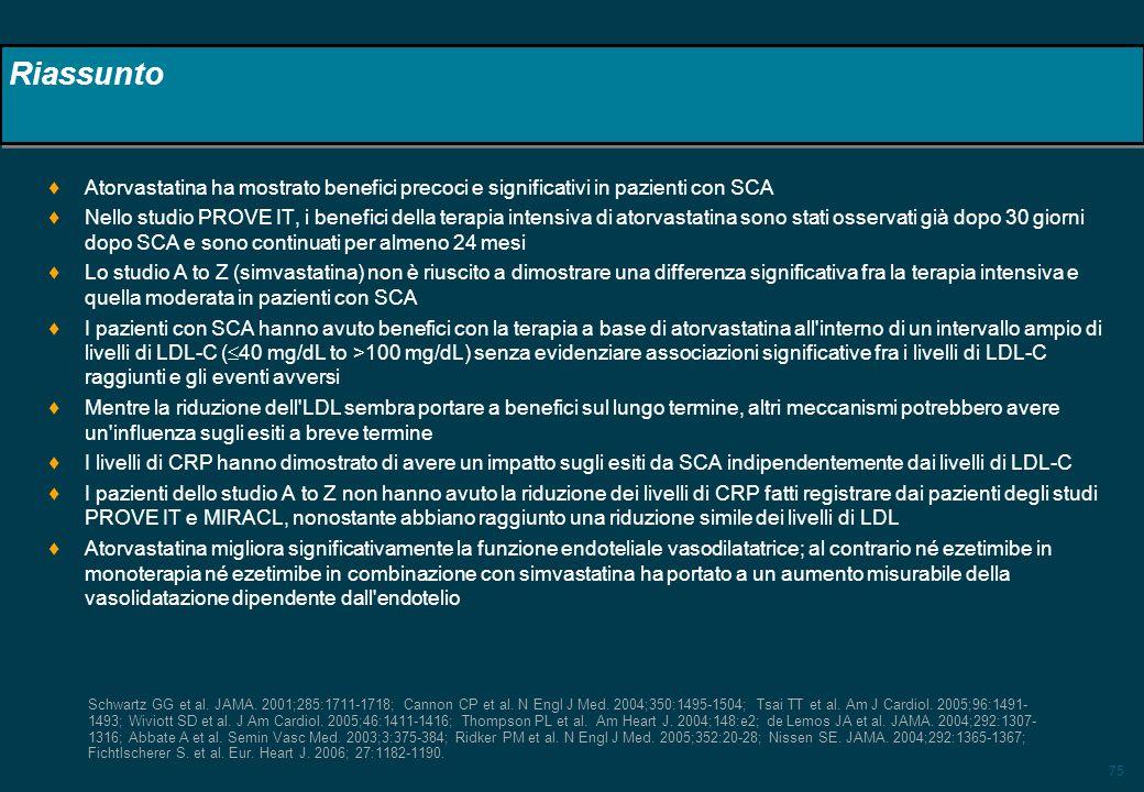 Riassunto Atorvastatina ha mostrato benefici precoci e significativi in pazienti con SCA.