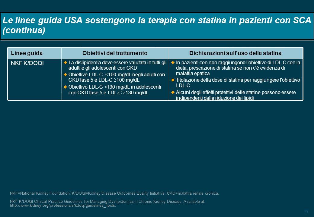 Dichiarazioni sull uso della statina Obiettivi del trattamento