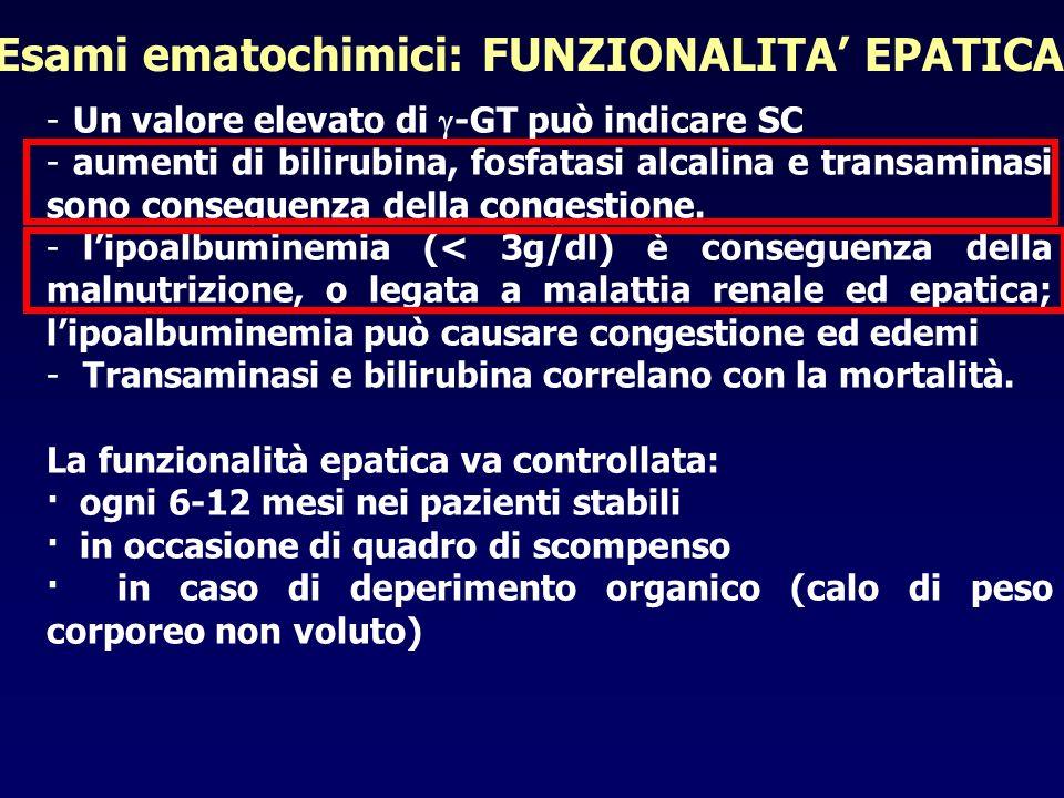Esami ematochimici: FUNZIONALITA' EPATICA