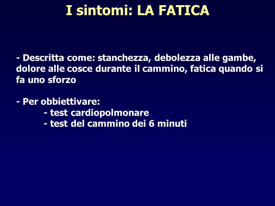 I sintomi: LA FATICA - Descritta come: stanchezza, debolezza alle gambe, dolore alle cosce durante il cammino, fatica quando si fa uno sforzo.