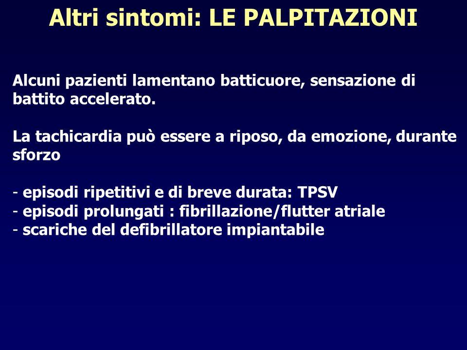 Altri sintomi: LE PALPITAZIONI