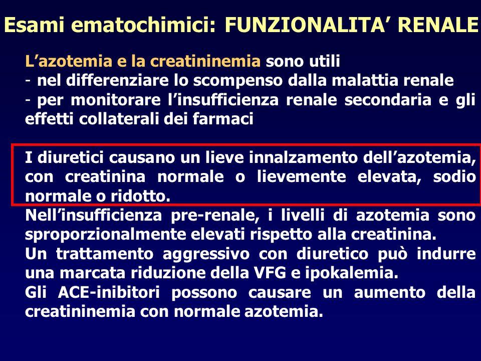 Esami ematochimici: FUNZIONALITA' RENALE