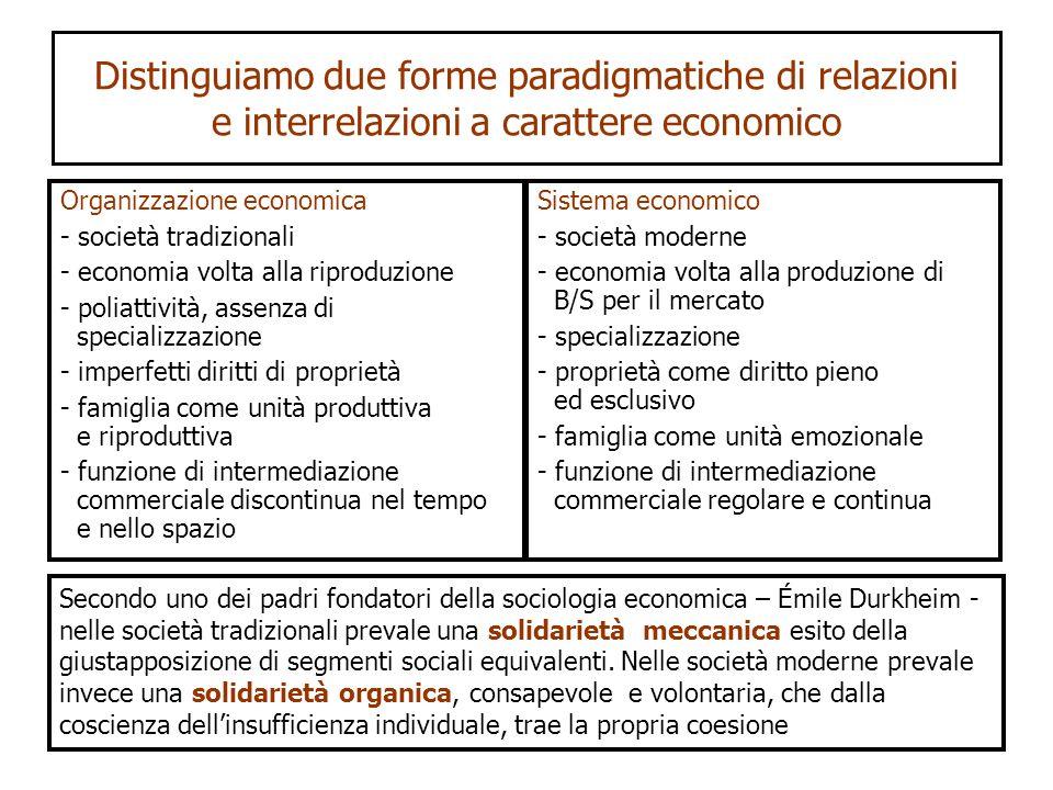 Distinguiamo due forme paradigmatiche di relazioni e interrelazioni a carattere economico