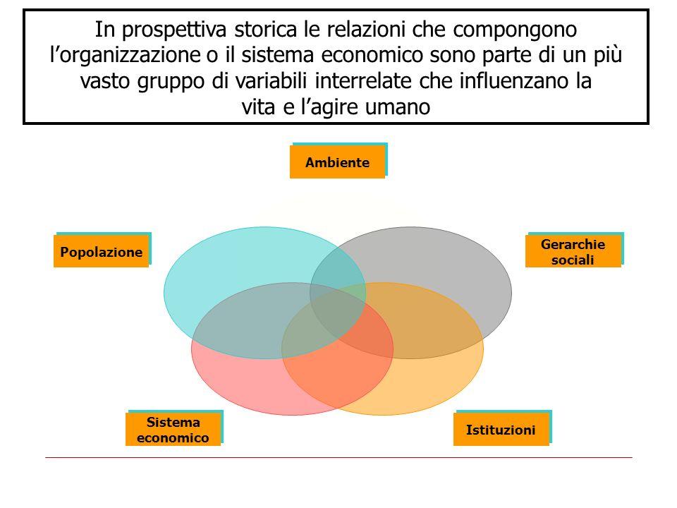 In prospettiva storica le relazioni che compongono l'organizzazione o il sistema economico sono parte di un più vasto gruppo di variabili interrelate che influenzano la