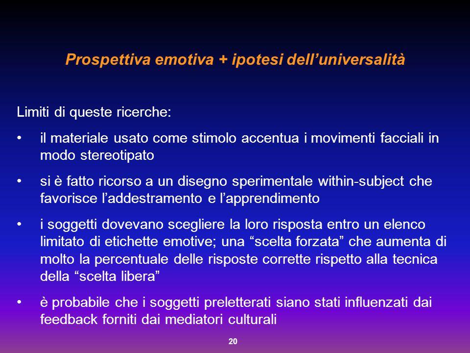 Prospettiva emotiva + ipotesi dell'universalità