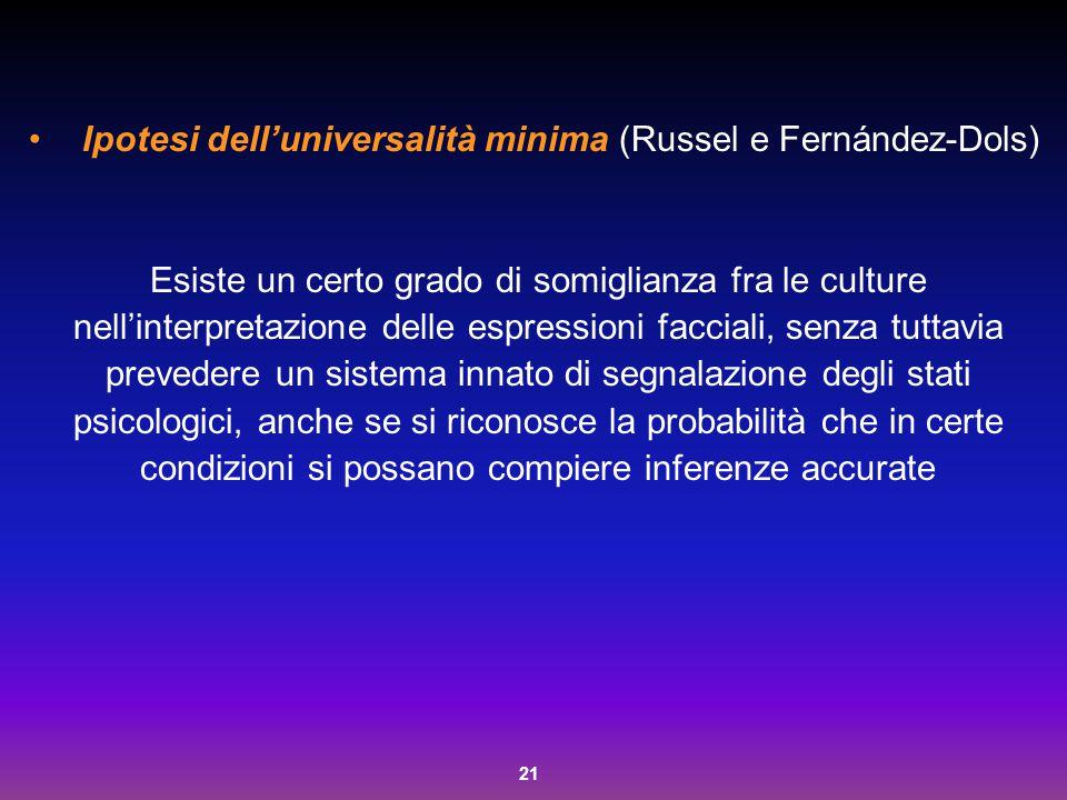Ipotesi dell'universalità minima (Russel e Fernández-Dols)
