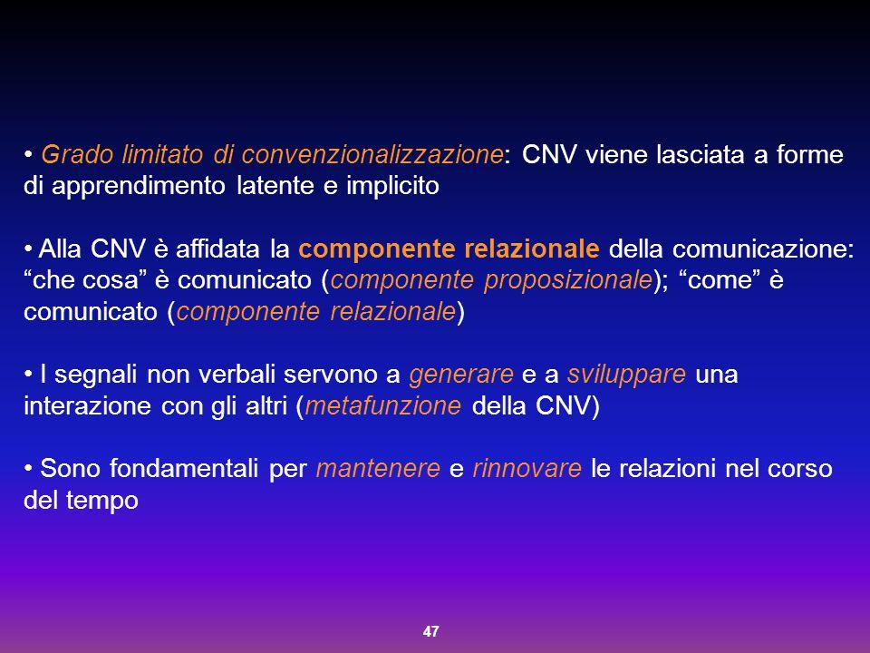Grado limitato di convenzionalizzazione: CNV viene lasciata a forme di apprendimento latente e implicito