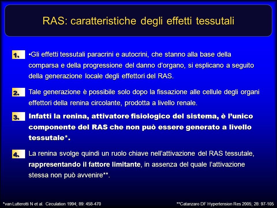 RAS: caratteristiche degli effetti tessutali