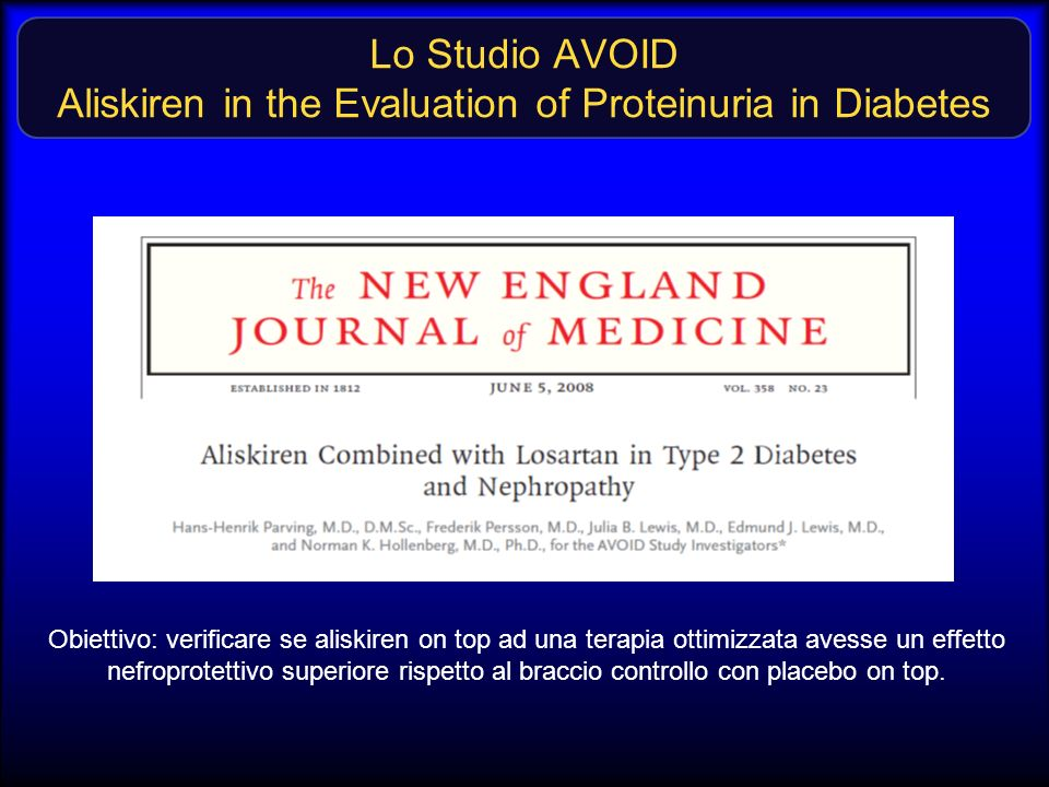 Lo Studio AVOID Aliskiren in the Evaluation of Proteinuria in Diabetes