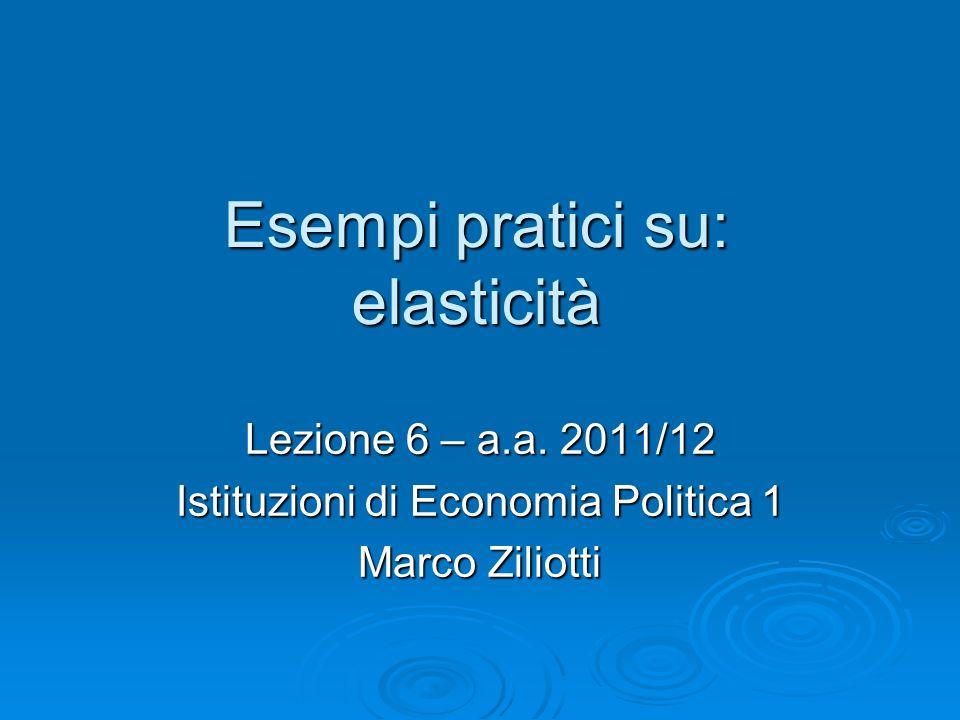 Esempi pratici su: elasticità