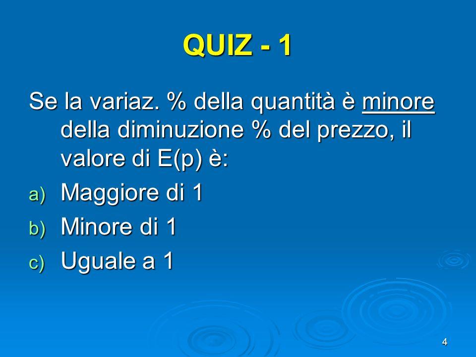 QUIZ - 1 Se la variaz. % della quantità è minore della diminuzione % del prezzo, il valore di E(p) è:
