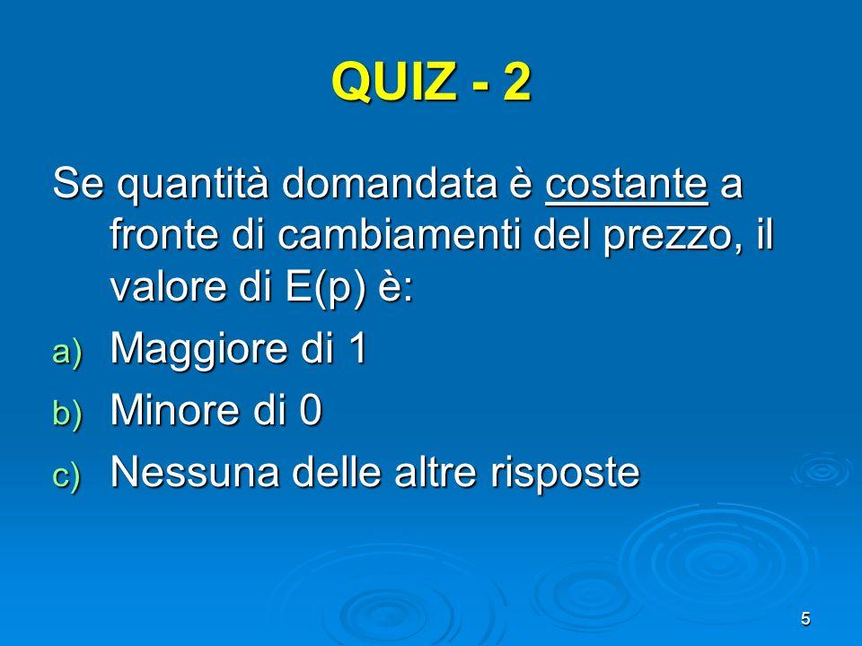 QUIZ - 2 Se quantità domandata è costante a fronte di cambiamenti del prezzo, il valore di E(p) è: Maggiore di 1.