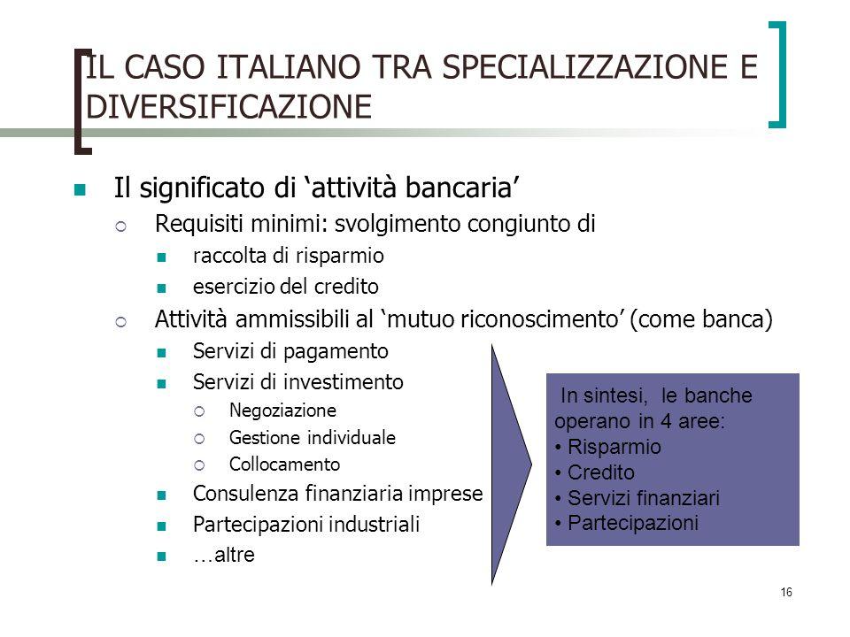 IL CASO ITALIANO TRA SPECIALIZZAZIONE E DIVERSIFICAZIONE
