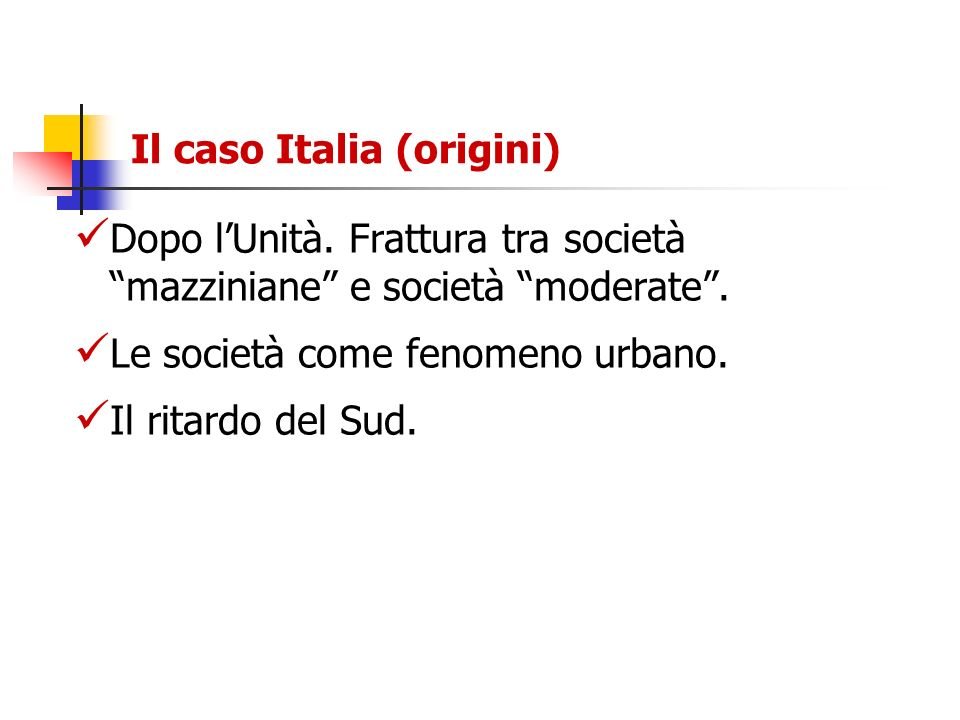 Il caso Italia (origini)
