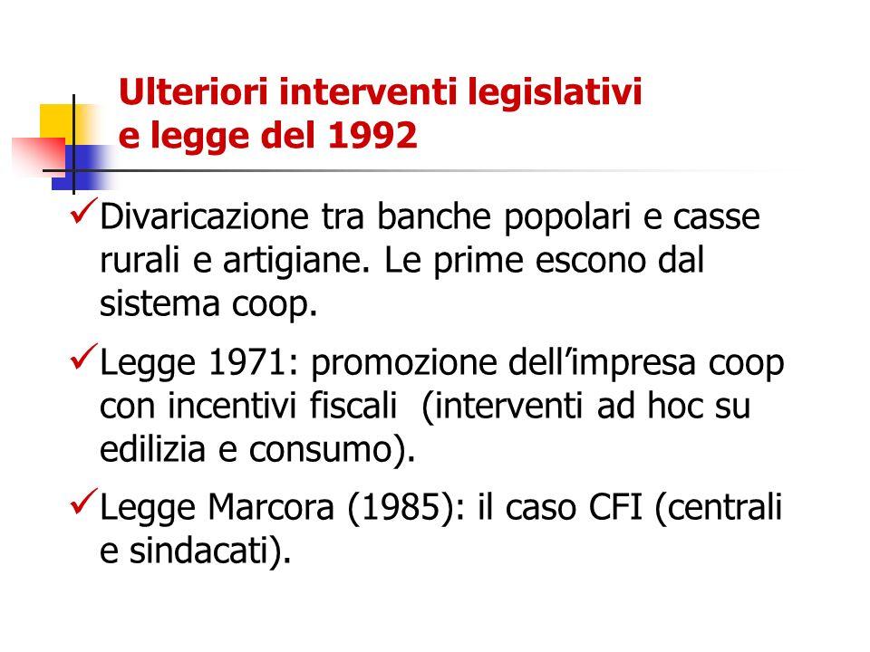 Ulteriori interventi legislativi e legge del 1992