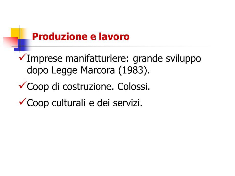 Produzione e lavoro Imprese manifatturiere: grande sviluppo dopo Legge Marcora (1983). Coop di costruzione. Colossi.