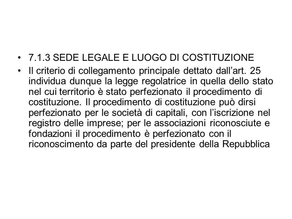 7.1.3 SEDE LEGALE E LUOGO DI COSTITUZIONE