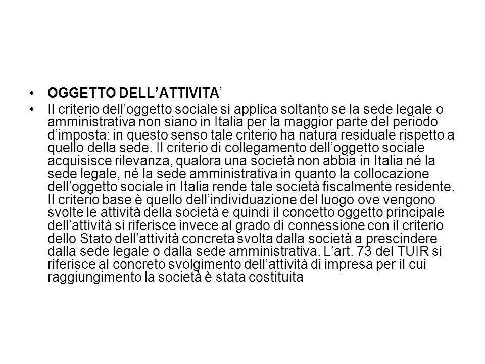 OGGETTO DELL'ATTIVITA'