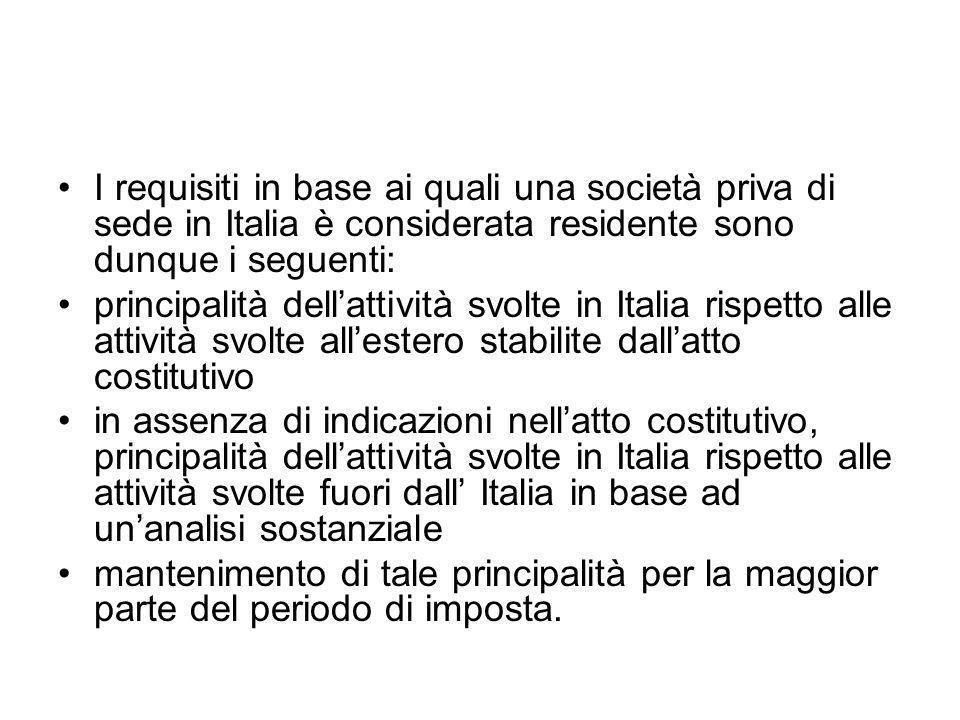 I requisiti in base ai quali una società priva di sede in Italia è considerata residente sono dunque i seguenti: