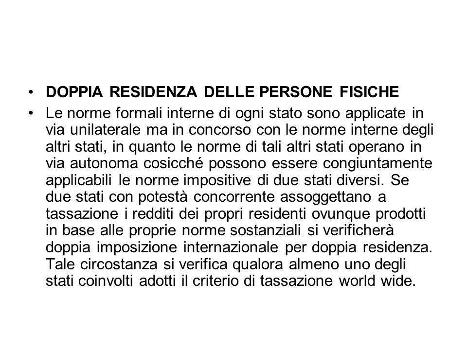 DOPPIA RESIDENZA DELLE PERSONE FISICHE