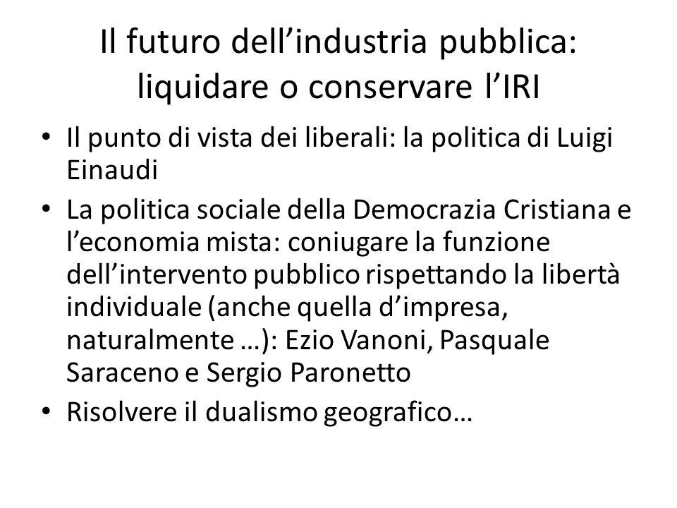Il futuro dell'industria pubblica: liquidare o conservare l'IRI