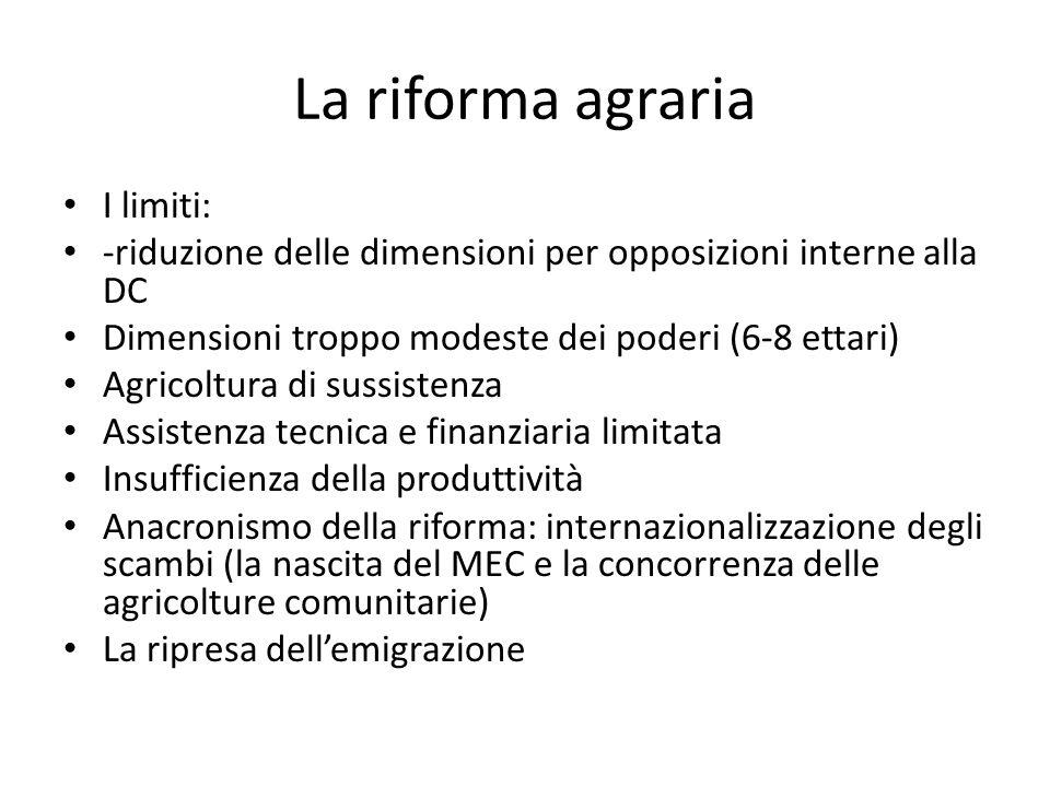 La riforma agraria I limiti: