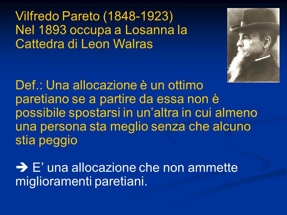 Vilfredo Pareto (1848-1923) Nel 1893 occupa a Losanna la. Cattedra di Leon Walras.