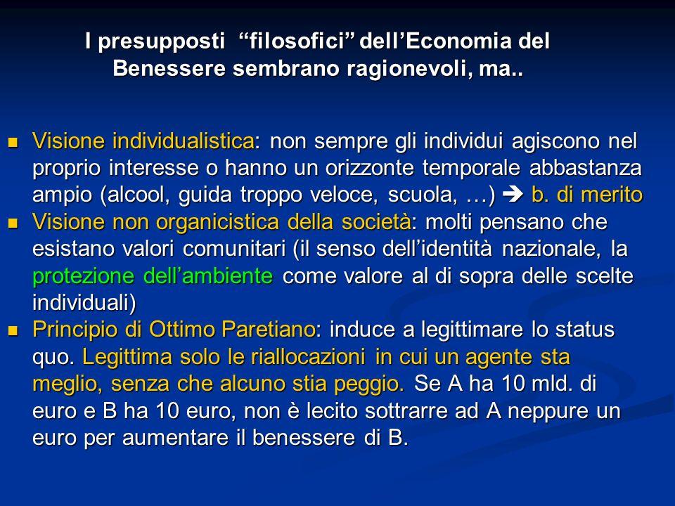 I presupposti filosofici dell'Economia del Benessere sembrano ragionevoli, ma..