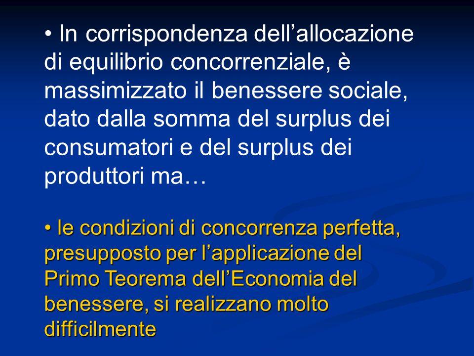 In corrispondenza dell'allocazione di equilibrio concorrenziale, è massimizzato il benessere sociale, dato dalla somma del surplus dei consumatori e del surplus dei produttori ma…