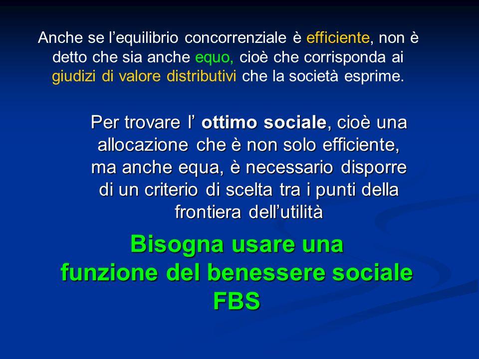 Bisogna usare una funzione del benessere sociale FBS