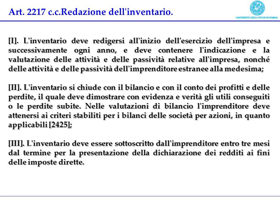 Art. 2217 c.c.Redazione dell inventario.