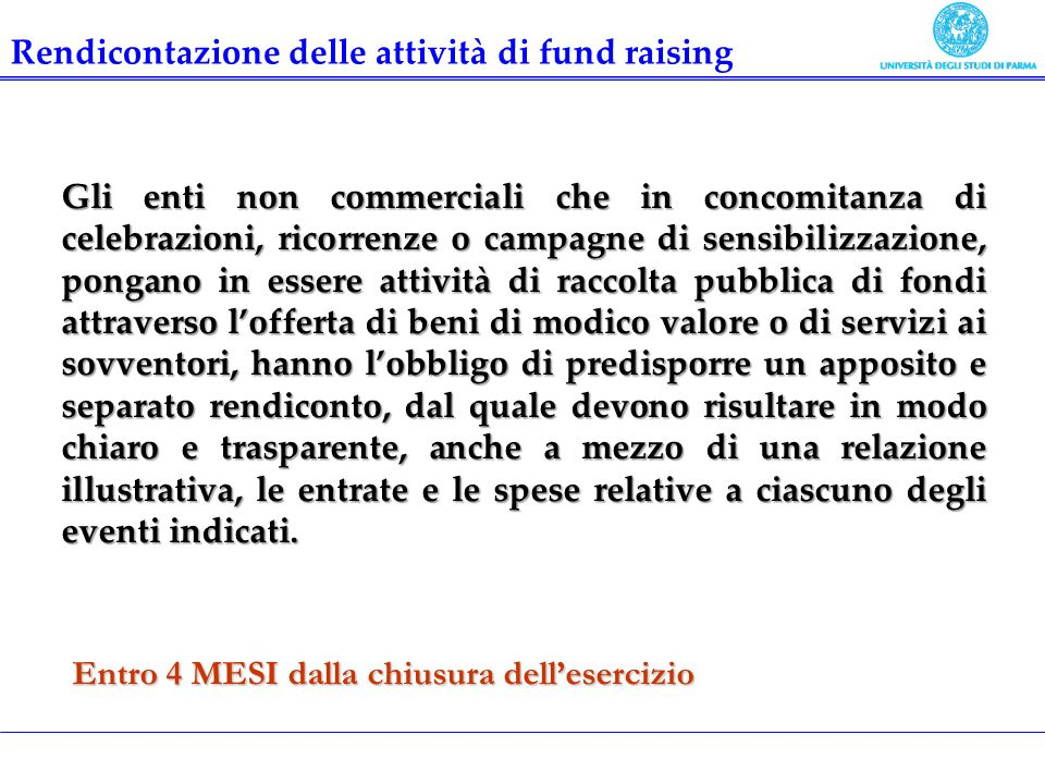 Rendicontazione delle attività di fund raising