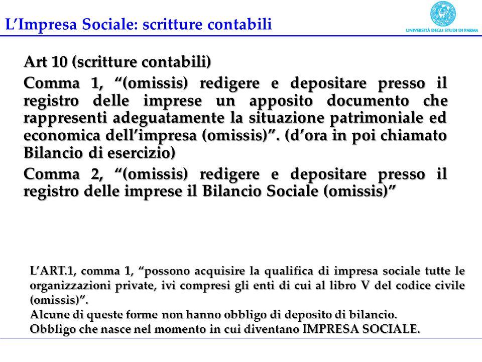 L'Impresa Sociale: scritture contabili