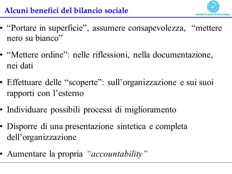 Alcuni benefici del bilancio sociale