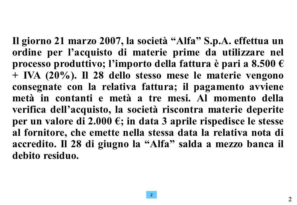 Il giorno 21 marzo 2007, la società Alfa S. p. A
