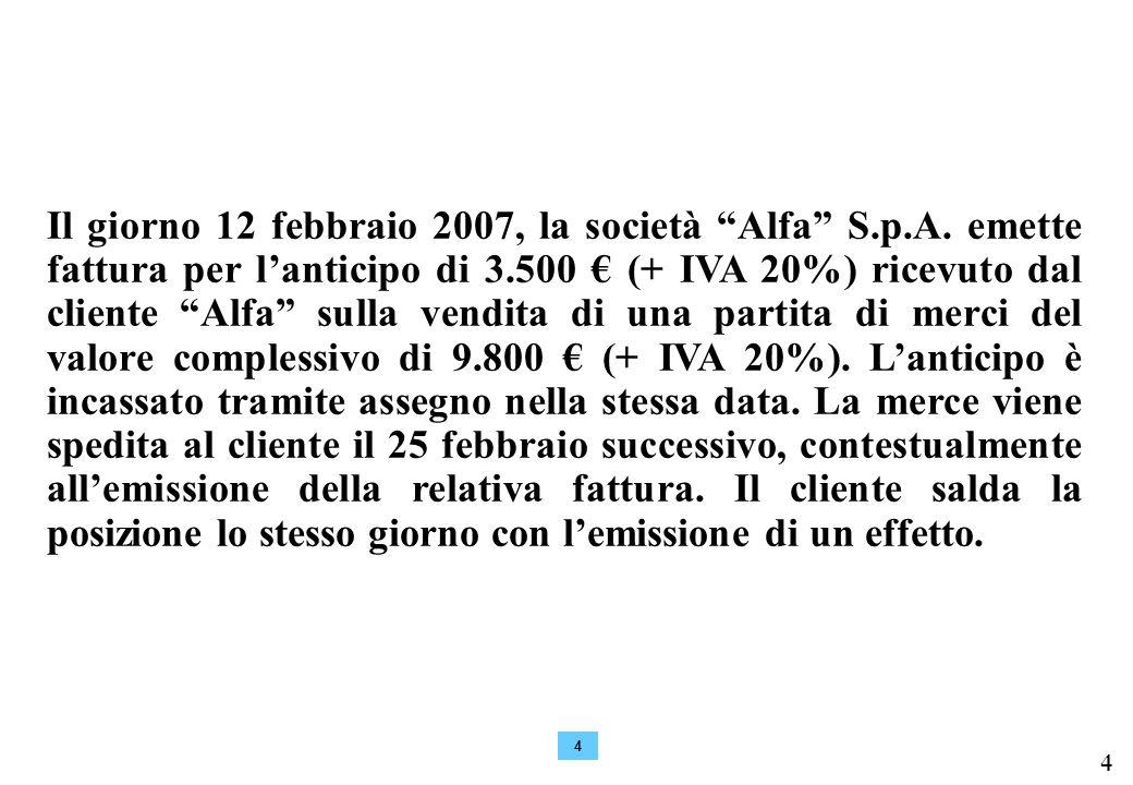 Il giorno 12 febbraio 2007, la società Alfa S. p. A
