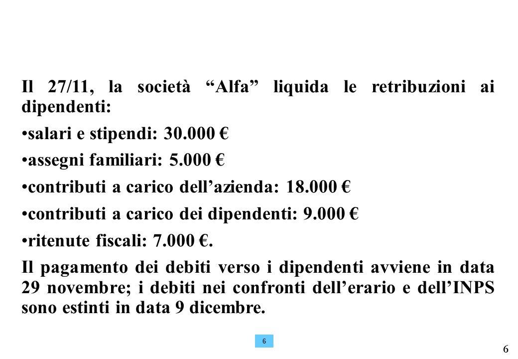 Il 27/11, la società Alfa liquida le retribuzioni ai dipendenti: