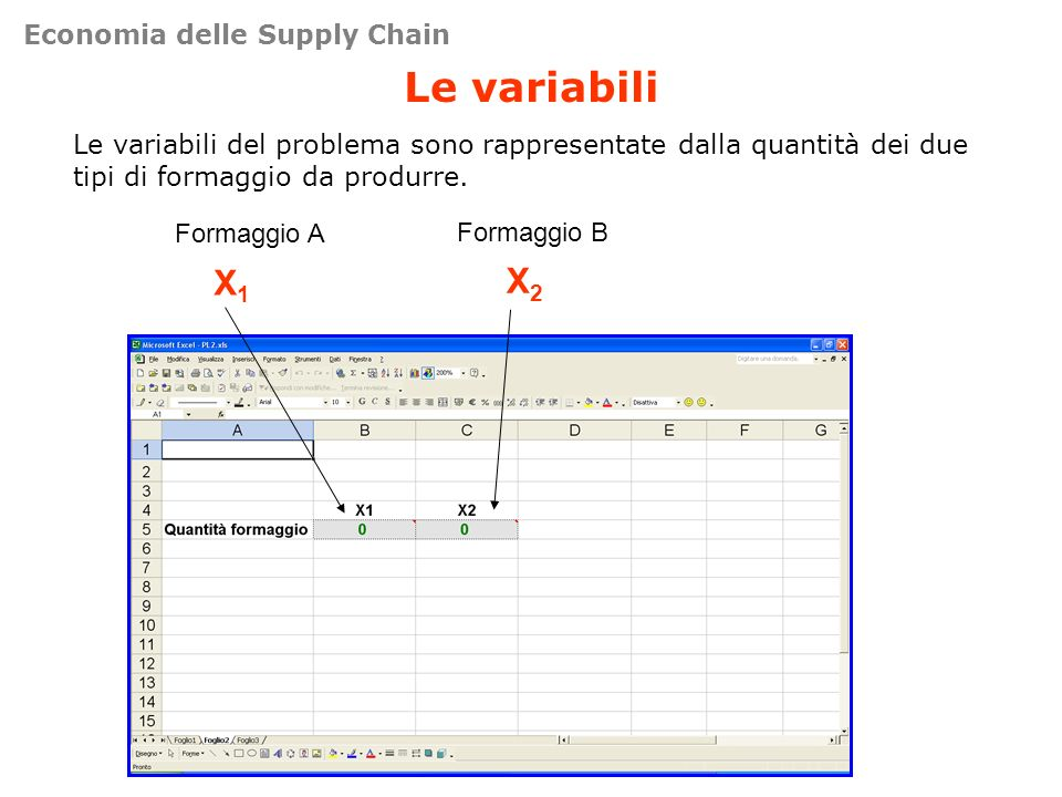 Le variabili X1 X2 Economia delle Supply Chain