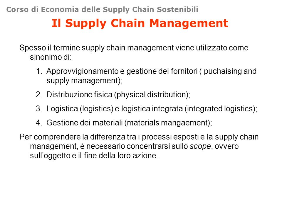 Il Supply Chain Management