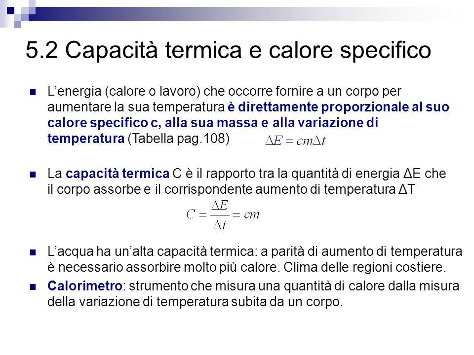 5.2 Capacità termica e calore specifico