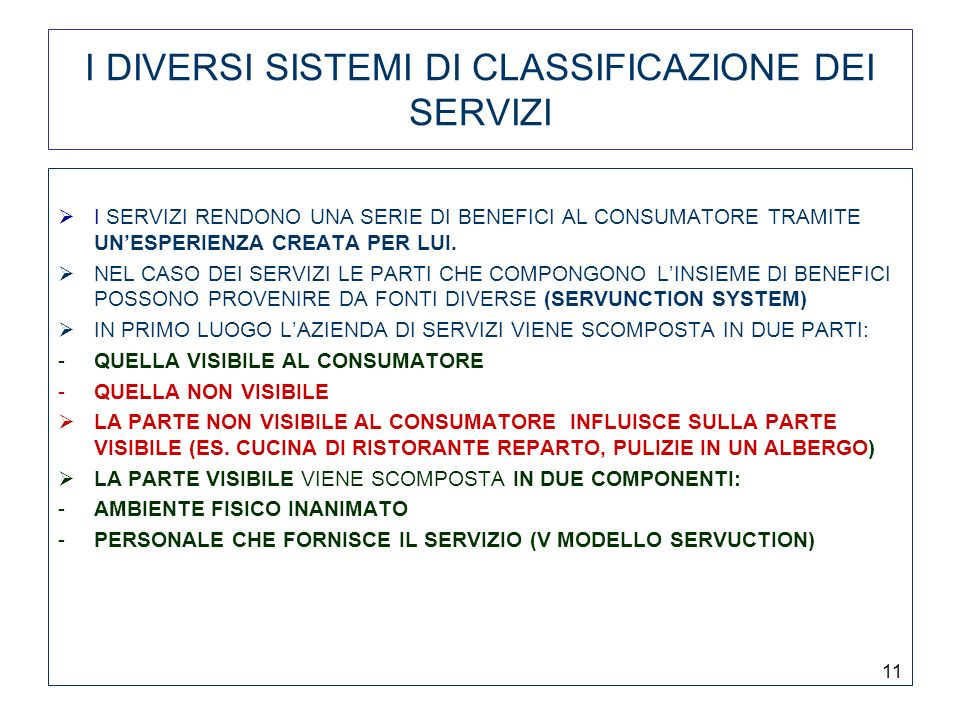 I DIVERSI SISTEMI DI CLASSIFICAZIONE DEI SERVIZI