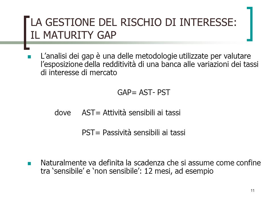 LA GESTIONE DEL RISCHIO DI INTERESSE: IL MATURITY GAP