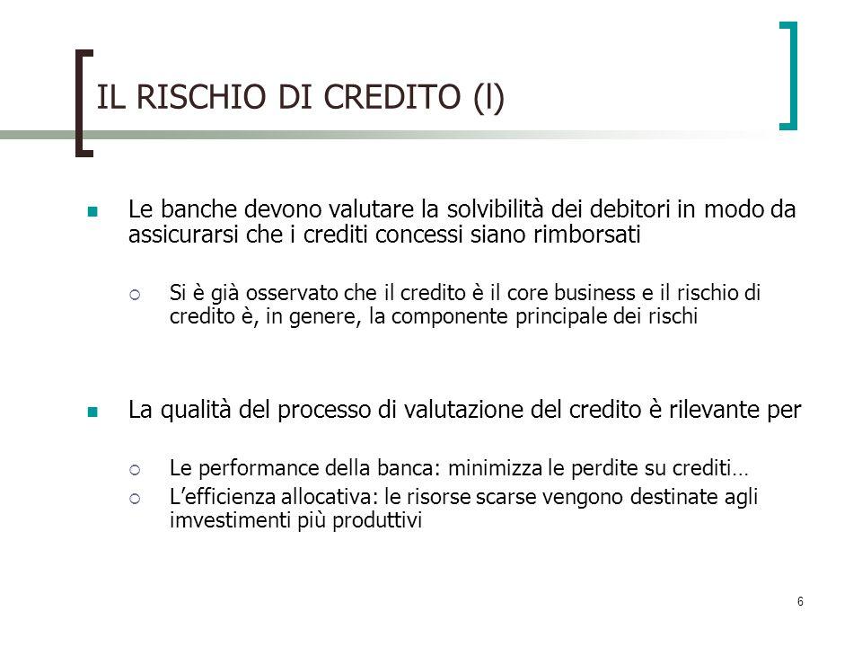 IL RISCHIO DI CREDITO (l)