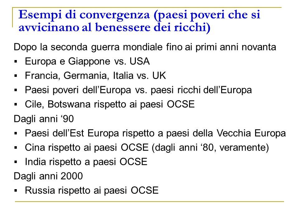 Esempi di convergenza (paesi poveri che si avvicinano al benessere dei ricchi)